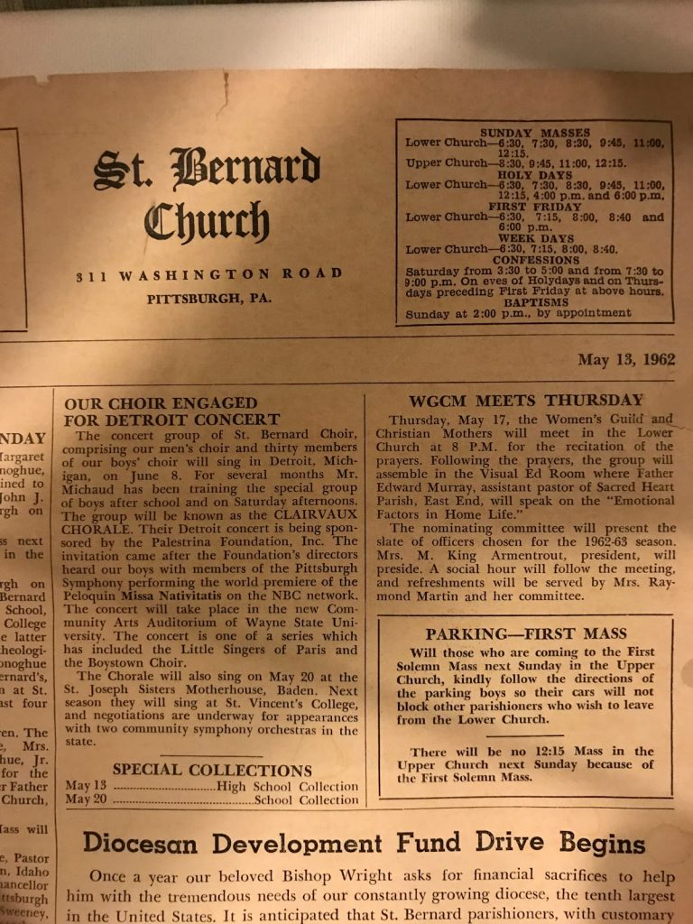 """Bulletin Article on the """"Clairvaux Chorale"""""""