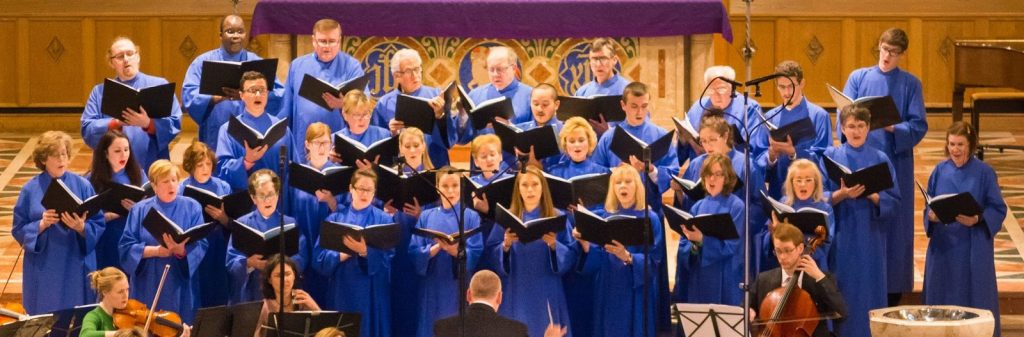 Photo of the St. Bernard Choir singing a concert in the spring of 2015